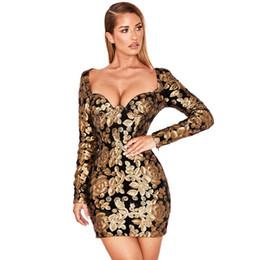 ae06a254de5 2019 платье с блестками из золота Золотой Черный Цветок Блесток Блеск  Платье Женщин Квадратный Воротник Полный