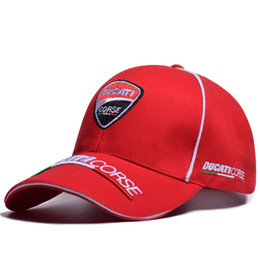 Caps pontiagudos Motorcycle Baseball Caps Ducati Bordado Snapback Hat Moda Outdoor Sports Hat F1 Racing Caps Black Red Casquette Chapéus de