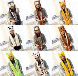 2019 ensembles d'écharpes pour femmes Nouveau-Cartoon foulards en peluche écharpes Pikachu ensembles de chapeaux costumes femmes chapeaux mignons avec long foulard gants gants cache-oreilles chapeaux chauds Chapeaux de fête ensembles d'écharpes pour femmes pas cher