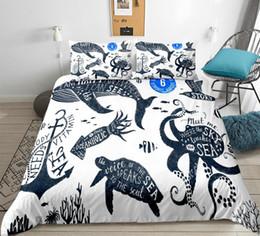 Cama de baleia on-line-Animal do oceano jogo de Cama Dos Desenhos Animados capa de Edredão set tartaruga polvo baleia cama para crianças Âncora têxtil de casa menino cama linha