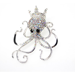 Горный хрусталь осьминог онлайн-20pc/lot Hot Sale New wholesale Clear rhinestone Crystal Octopus Brooch Pin Ocean Animal Brooch Pin Jewelry