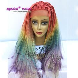 Parrucche frontali piccole online-Parrucca anteriore in pizzo taglia small cap colore arcobaleno Ombre Mermaid Unicorn Hairstyle Parrucca anteriore in pizzo Lunga crespi ricci parrucche piene