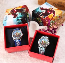 cartoon gift paper Coupons - Wholesale Lot The Avengers Children Wristwatch Kids Cartoon Watches With Boxes Gifts W005