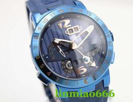 melhor alça oca Desconto 2019 best-seller relógio de desconto de vendas UN carro do relógio dos homens de aço inoxidável oco disque azul pulseira de borracha GMT perpétuo calendário relógio esportivo