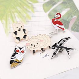 Acessórios de andorinha on-line-Novo dos desenhos animados bonito animal ovelhas e urso coruja andorinha broche de flamingo feminino colarinho da moda jóias acessórios de presente