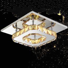 techo de madera moderno Rebajas Luz de techo LED moderna Plaza Crystal Lustre Luminarias Para Sala llevado lámparas para el hogar Pasillo Pasillo Balcón accesorios de cocina