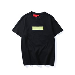 мужская мода логотип футболки Скидка Высочайшее качество, модный бренд, новая цветная коробка, логотип, футболка с круглым вырезом.