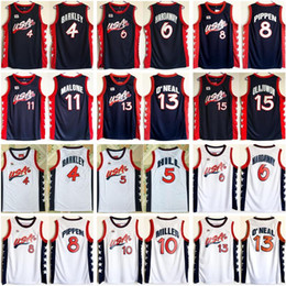 Pullover di basket americano online-1996 USA Pallacanestro Jersey Dream 4 Charles Barkley 6 Penny HardAway 8 Scottie Pippen Hakeem Olajuwon 13 Shaquille Oneal American Navy White