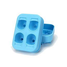 molho de chocolate em cuba de cubo de gelo de silicone Desconto Bandeja do chocolate do molde do cubo de gelo do silicone do crânio 3D com a tampa para a ferramenta do vinho do uísque