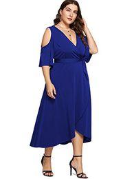 7126c36eb70 Milumia Plus Size Cold Shoulder Wrap V Neck Empire Waist High Low Summer  Short Sleeves Party Midi Dress