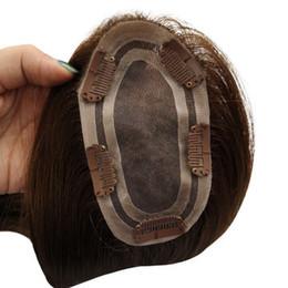 Pelucas de pelo de la cutícula online-Cruda sin procesar cutícula alineada visón brasileño virgen Toupee Mujeres Topper de pelo humano para las mujeres negras Topper de pelo humano peluca