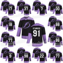 2019 jersey de hockey marrón Tampa Bay Lightning 2019 combate el cáncer Andrei Vasilevski, Nikita Kucherov Steven Stamkos Point Gourde McDonagh Palat Patrick Maroon Jersey jersey de hockey marrón baratos