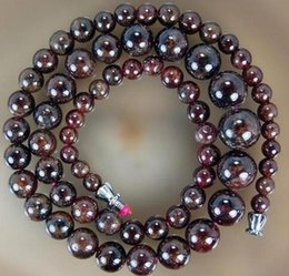 2019 natürliche granat perlenkette Heißer verkauf Freies Shipping5-11mm Natürlicher Granat Runde Perlen Halskette 17 '' günstig natürliche granat perlenkette