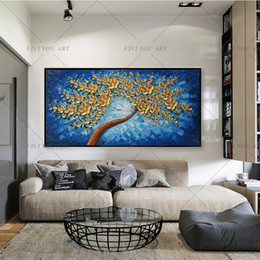 malen goldene blumen Rabatt VIVI Strukturierter Paletten-Messer-Ölgemälde auf Leinwand handgemaltes modernen abstrakten 3D Golden Blumen-Wand-dekorative Bilder Kunst