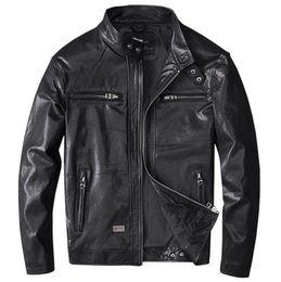 2019 primeiro jaquetas de couro da motocicleta Homens Preto Couro Coats Primavera Motorcycle Jacket real Primeira camada da pele dos carneiros 4XL New Vestuário Masculino Jacket Bomber primeiro jaquetas de couro da motocicleta barato