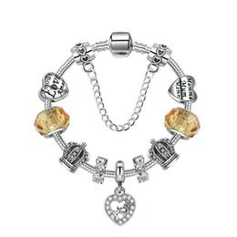 18 19 20 21CM Charm Mom Beads 925 Pulseras de plata Colgante de corazón para el Día de la Madre como regalo Accesorios de bricolaje con caja de regalo desde fabricantes