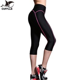 cropped blue leggings Promo Codes - CUFFLLE Yoga Leggings Women High Elasticity Sports Cropped Pants Quick Dry Gym Running Capris Fitness Yoga Female Tights