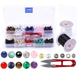 Argentina Kits de juegos de caja de piedra de cristal natural de 8 mm granos de chakra con 2 rollos de cadena elástica de cristal para la fabricación de joyas bricolaje + 1 recorte rebordear tijera M155F Suministro