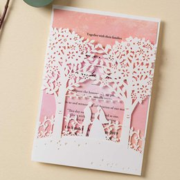 free engagement invitation cards Promo Codes - WISHMADE White Wedding Invitations with Laser Cut Trees 50 Pink Inner Paper Elegant Engagement Cards,Free Printing and Shipping