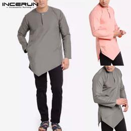 2019 terno dos indianos dos homens INCERUN Camisa Ocasional Dos Homens de Manga Longa O Pescoço Solto Streetwear Irregular Hem Encabeça Camisas de Vestido Sólido Homens Indiano Kurta Terno 2019 desconto terno dos indianos dos homens