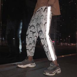 2019 calça formal feminina Houzhou Reflexivo Harem Gótico Calças Mulheres Hip Hop Streetwear Tornozelo Comprimento Calças Plus Size Mid Loose Lápis Pantalon Feminino SH190709 calça formal feminina barato