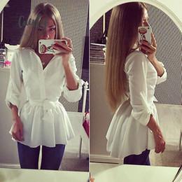2019 cintura della camicetta delle signore Shirt Donna Nuovo camicetta a maniche lunghe con scollo a V Belt Giù Ufficiale Attire Tops White Ladies Slim Abbigliamento cintura della camicetta delle signore economici