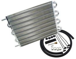 Transmissões de motores on-line-Radiadores de alumínio pretos do jogo do refrigerador de óleo da transmissão do motor de 8 linhas do universal