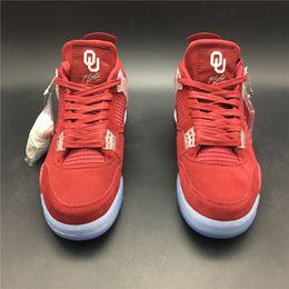 Haustier-boxen online-Beste Qualität 4 4s Oklahoma Sooners PET Basketball-Schuhe der Entwerfer-Männer neue Art- und Weisetrainer-Turnschuhe des Weinrot-IV mit ursprünglichem Kasten