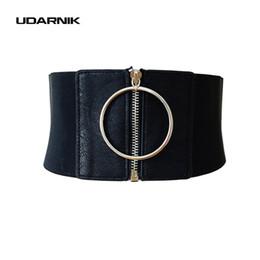 breite taille korsett gürtel Rabatt Dame Punk Waist Belt Extra Wide Korsett Metallring Kleid Kummerbund Zip Up Elastischer Bund Schwarz New Fashion 200-A182