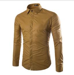 Koreanische formale kleiderhülsen online-Neue Herrenhemden Camisa Masculina Langarmhemd Herren Korean Slim Design Formelle Casual Herrenhemd Größe M-3XL