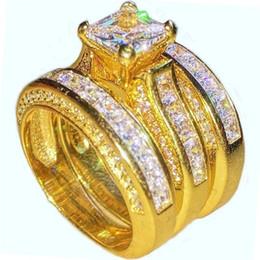 кольцо из желтого золота 14к Скидка 14 K желтое золото заполненные 20 CT драгоценные Принцесса cut Топаз CZ камень коктейль обручальное кольцо кольца набор для женщин 3-в-1