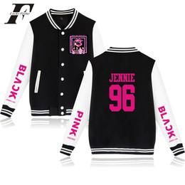 chaqueta rosa rosa Rebajas Bts 2018 Blackpink kpop chaqueta de béisbol chaqueta bomber mujer Jennie / Rose negro rosa Kpop algodón Outwear abrigo de invierno