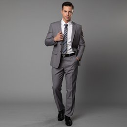 Smoking sposo sposo online-Handsome Grey Mens Abiti formali per matrimoni 2019 Bride Groom Mens Migliori Mens Blazer sposa Abiti Smoking formali Custom Made