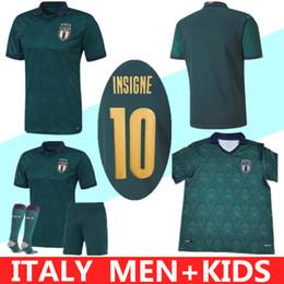 Maillots de foot italie en Ligne-MAN ENFANTS 2019 2020 ITALIE Coupe d'Europe troisième football Jersey 19 20 CHIELLINI EL Shaarawy BONUCCI INSIGNE BERNARDESCHI FOOTBALL