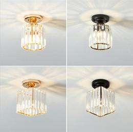 illuminazione corridoio contemporaneo Sconti Plafoniera a LED in cristallo E27 85-265V Lampada a cristallo moderna per corridoio Corridoio Luce a soffitto lampadari a sospensione Asile