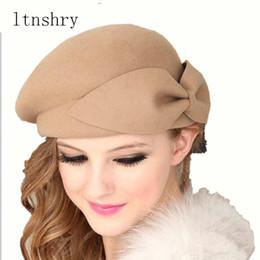 43665cafada59 Female Cute British 100% Wool Felt Beret Hat Women French Lady Artist Flat Cap  Bow Boina Feminino Hats For Girls Gift