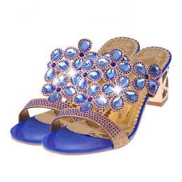 Обувь открытая онлайн-2019 Fashion Design Women Rhinestone Slippers For Women Fashion Open Toe Plus Size Shoes Bohemia Heels Sandalias De Mujer 15