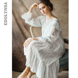 7f29cf3729 Women's Vintage Gothic Victorian Night Dress White Cotton Flare Sleeve V  Neck Lace Embellished Ruffle Hem Autumn Nightgown T29