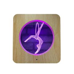 Scultura in legno Lampada in acrilico LED Ginnastica 3D Night Light 7 colori Ginnastica per la decorazione domestica Lampade Miglior regalo per ... da
