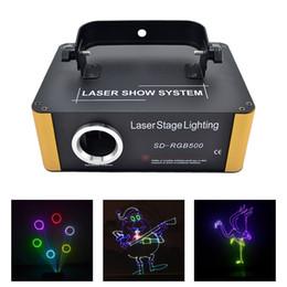 Dj animação de iluminação on-line-AUCD 500mW RGB Laser Pequeno Programa de Cartão SD DMX Animação Projetor Iluminação Cénica PRO DJ Show Scanner Luz SD-RGB500
