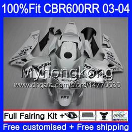 Repsol argento bianco online-Iniezione OEM Per HONDA CBR 600RR 600F5 CBR600 RR F5 03 04 285HM.6 CBR600RR 03 04 CBR600F5 Repsol argento bianco CBR 600 RR 2003 2004 Carene