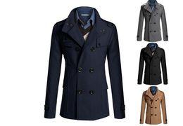 84748c99703 2019 Hot Selling Drop Shipping Men Autumn Winter Double Row Button Collar  Woolen Coat Sweater Top Blouse Wholesale