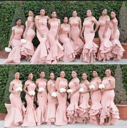 2019 contas de pescoço nigeriano Plus Size-de-rosa da sereia da dama de honra Vestidos Sexy Off casamento Shoulder Dresses Slim Fit até o chão Partido vestes de mariée