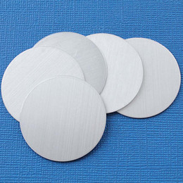 blank mirrors Coupons - 50 Aluminum Stamping Tags Mirror Finish Grey Round Circle Disc Tags Blank 58mm 0758LT