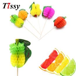 Suministros de decoración de frutas online-20PCS DIY Paper 3D Fruit Cake Topper Picks Drink Cup Decorations Summer / Birthday / Wedding Party Decoration Baby Shower Supplies