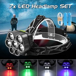 rechargeable headlamp red Promo Codes - Headlight 60000lm 7*T6 Headlamp Bike Head Lamp Light 18650 Rechargeable Torch Head Red Blue White Green Emitting