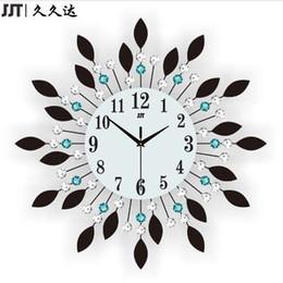 tênis de mesa vintage Desconto JJT Luxo Diamante Relógios De Parede Grandes Relógio De Parede De Metal De Vidro De Cristal Para Sala de estar Decoração