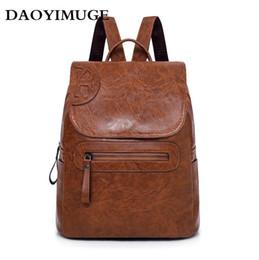 mochilas de couro para a mulher da faculdade Desconto Mulheres Mochila para o Estilo Escola Bolsa De Couro Para O Colégio Design Simples Mulheres Casuais Daypacks # 92396