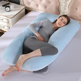 almohada terapia de sueño Rebajas Yfashion Super suave tela de terciopelo de cristal almohada multifuncional almohada lateral lavable en forma de U siesta cojín para mujeres embarazadas