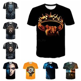 Melhores jogos de desenhos animados on-line-Impressão 3d Camisetas Game of Thrones Homens Mulheres Unisex Noite Rei Dragão Verão Camisas de Manga Curta Q dos desenhos animados impressão Tops Tee LJJA2575